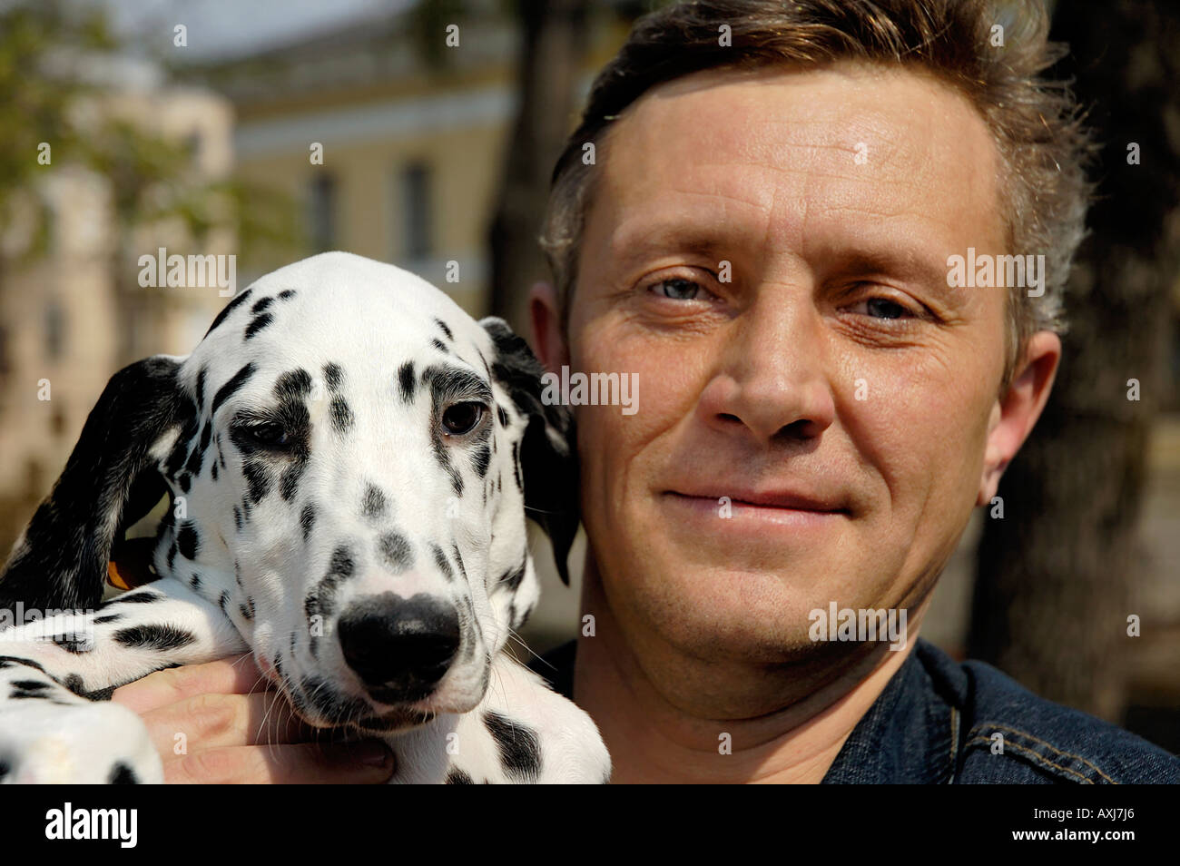 Man and a young Dalmatian dog - Stock Image
