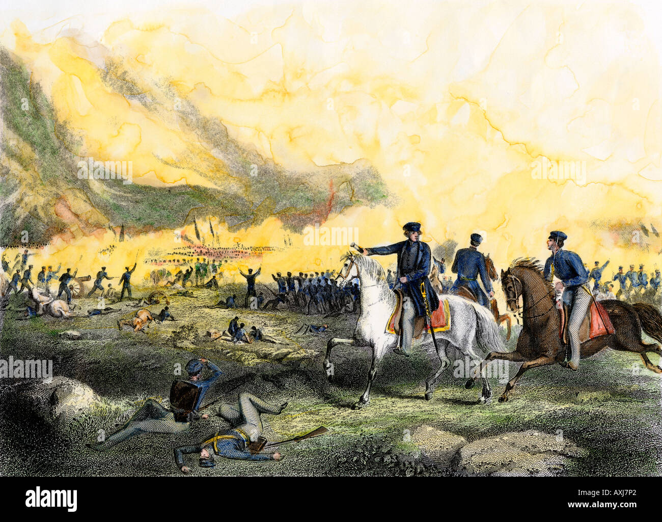 General Zachary Taylor commanding US troops against Mexican forces under Santa Ana at Buena Vista 1847. Hand-colored steel engraving - Stock Image