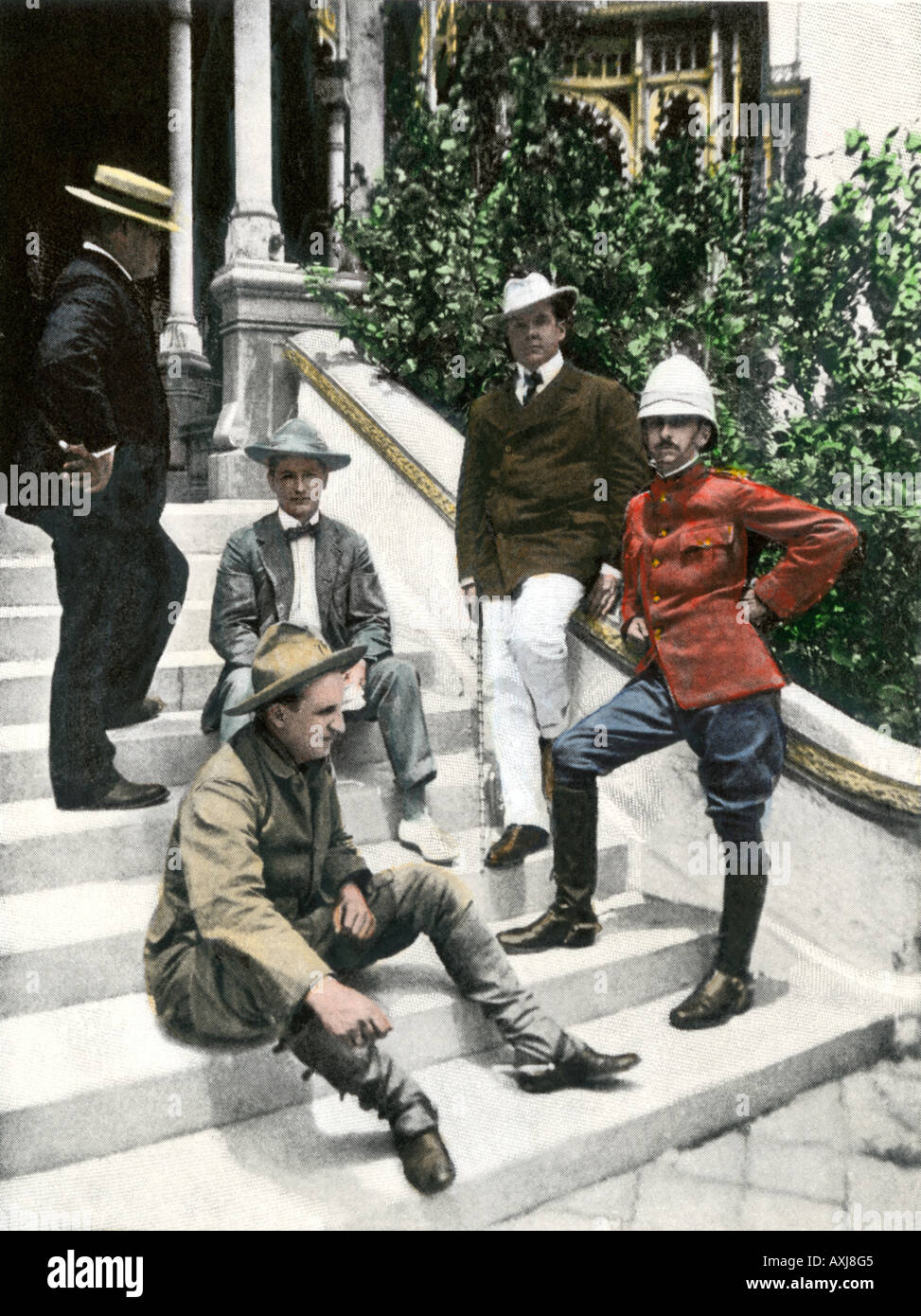 Spanish American War correspondents in Tampa including Frederic Remington left and Richard Harding Davis second from right 1898. Hand-colored halftone - Stock Image