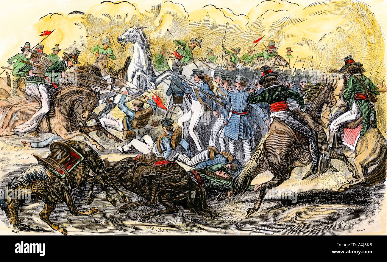 Charge of Mexican lancers against US forces at Buena Vista during the Mexican War 1847. Hand-colored woodcut - Stock Image