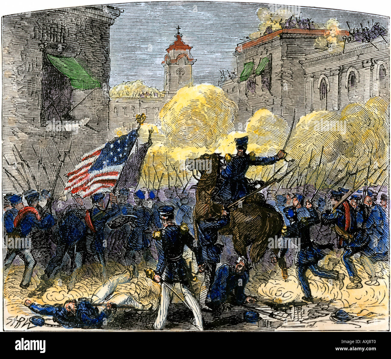 General Zachary Taylor attacking Monterey Mexico during the US Mexican War 1846. Hand-colored woodcut - Stock Image