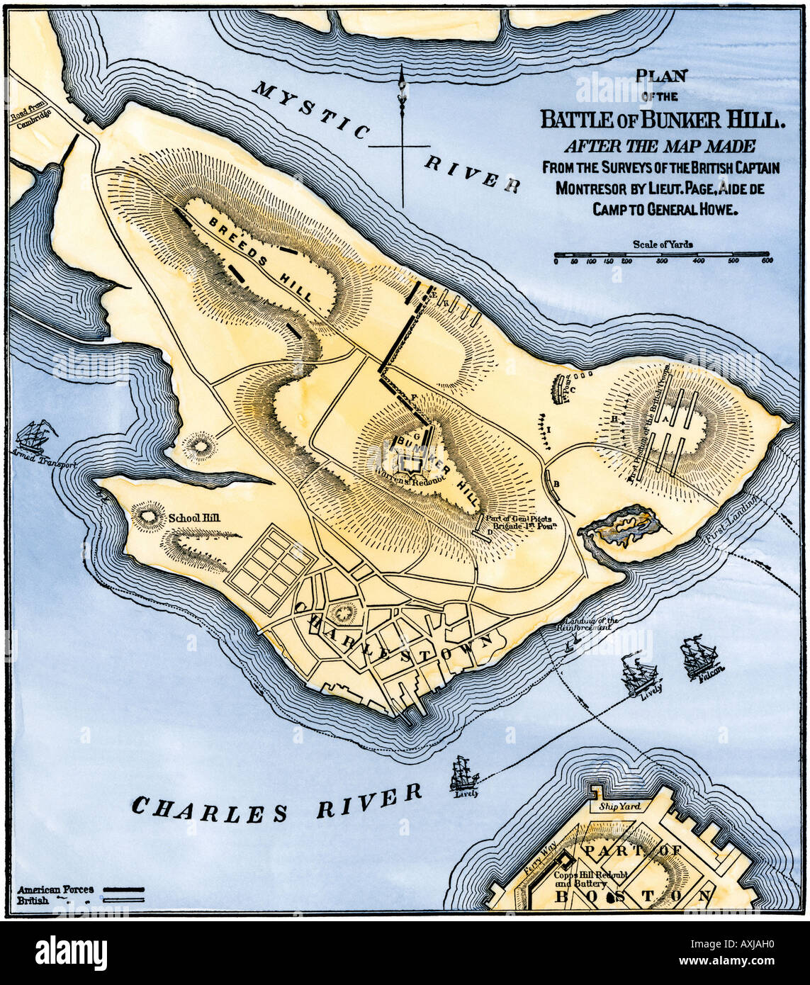 map of the battle of bunker hill drawn from a british map