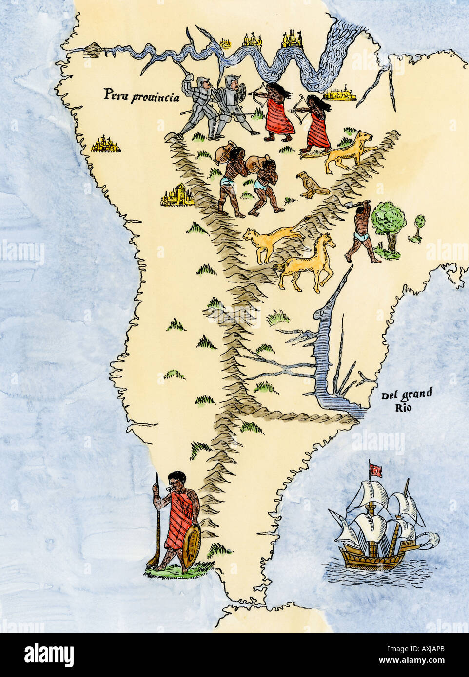 Map of south america from the sebastian cabot map of the world 1544 map of south america from the sebastian cabot map of the world 1544 gumiabroncs Image collections