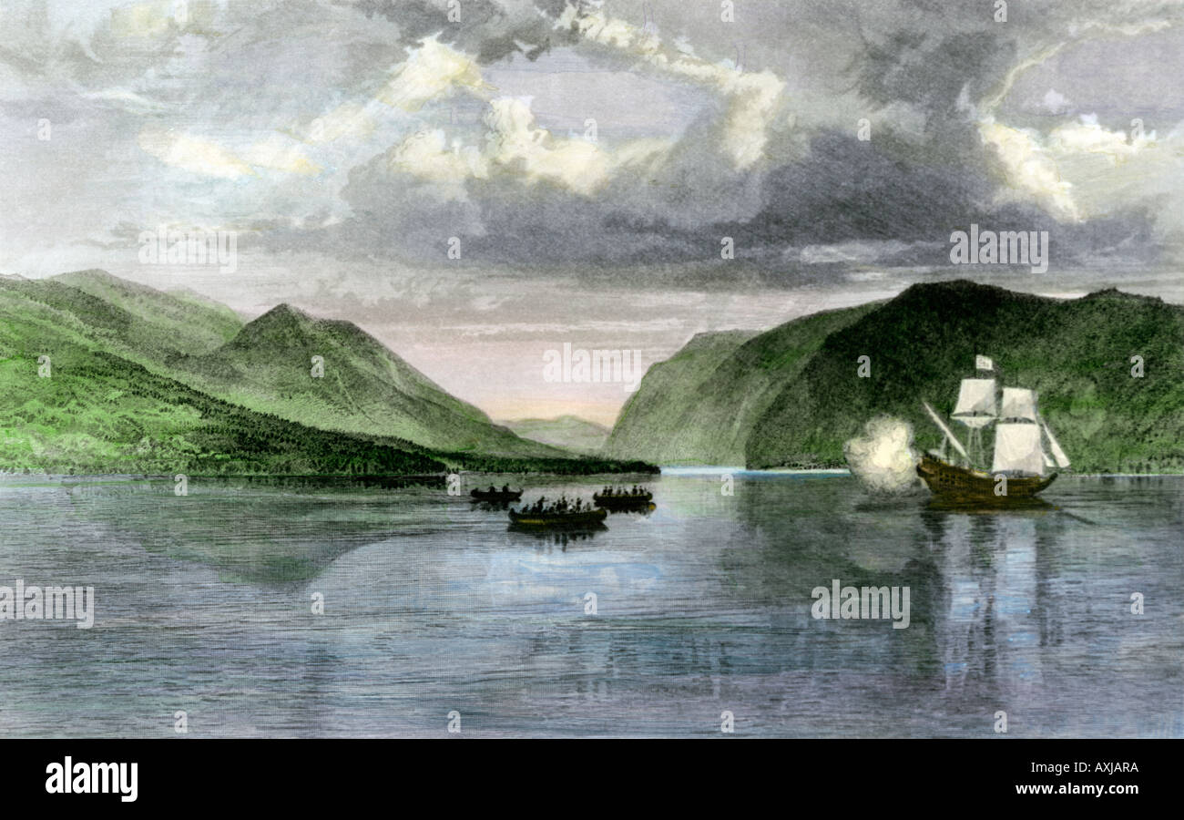 Henry Hudson ship Half Moon meets Native Americans in the Hudson River highlands in 1609. Hand-colored steel engraving - Stock Image