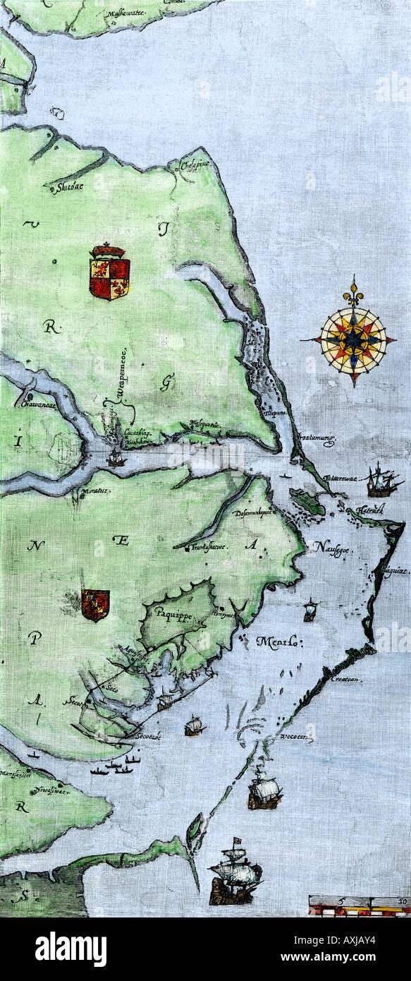 John White map of Virginia and Carolina coast where Roanoke Colony was located 1500s. Hand-colored woodcut - Stock Image