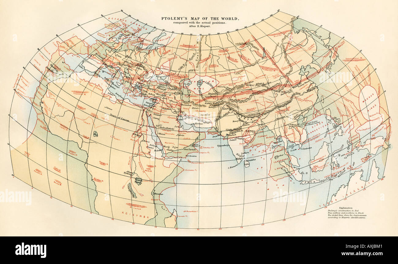 Ptolemy map of the world shown in red with true locations shown in black. Color lithograph - Stock Image