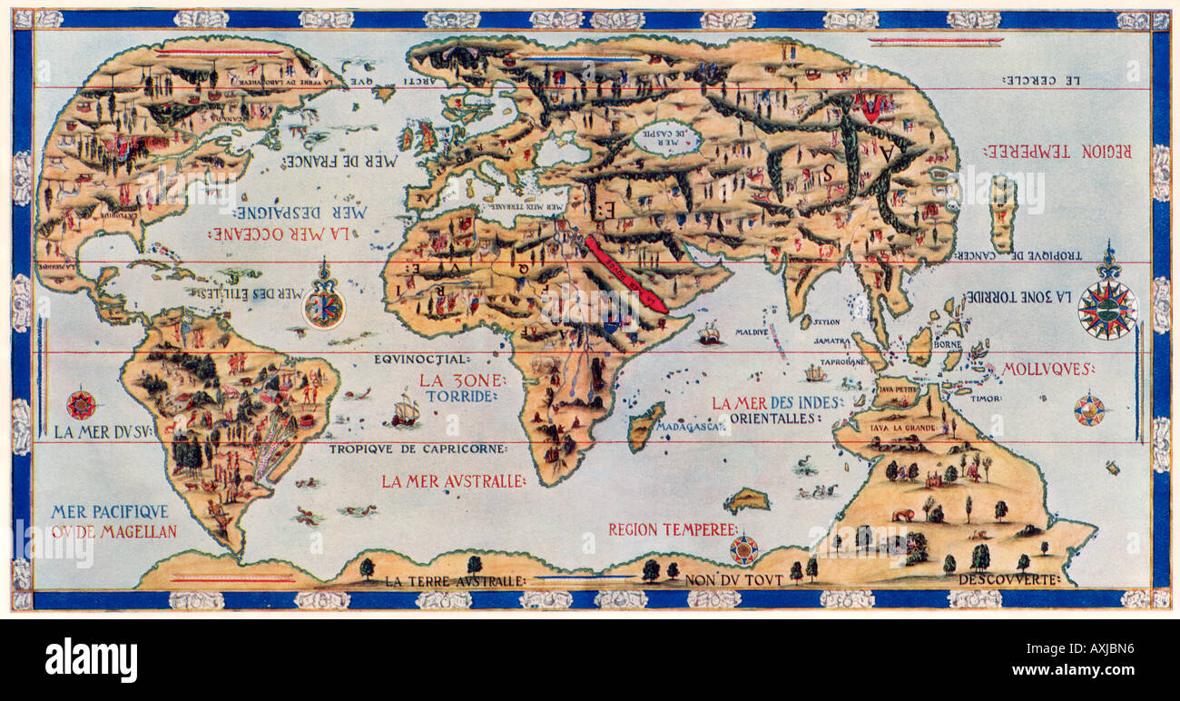 Dauphin Map by Pierre Desceliers made for Henri II by order of French King Francis I in 1546. Color halftone - Stock Image