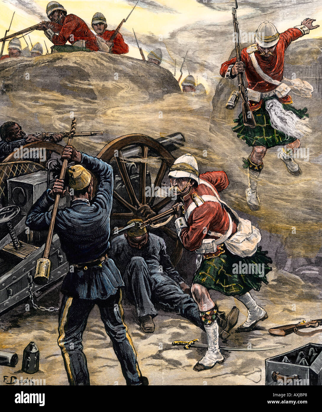 British attack on Egyptian artillery at Tell el Kebir 1882. Hand-colored woodcut - Stock Image