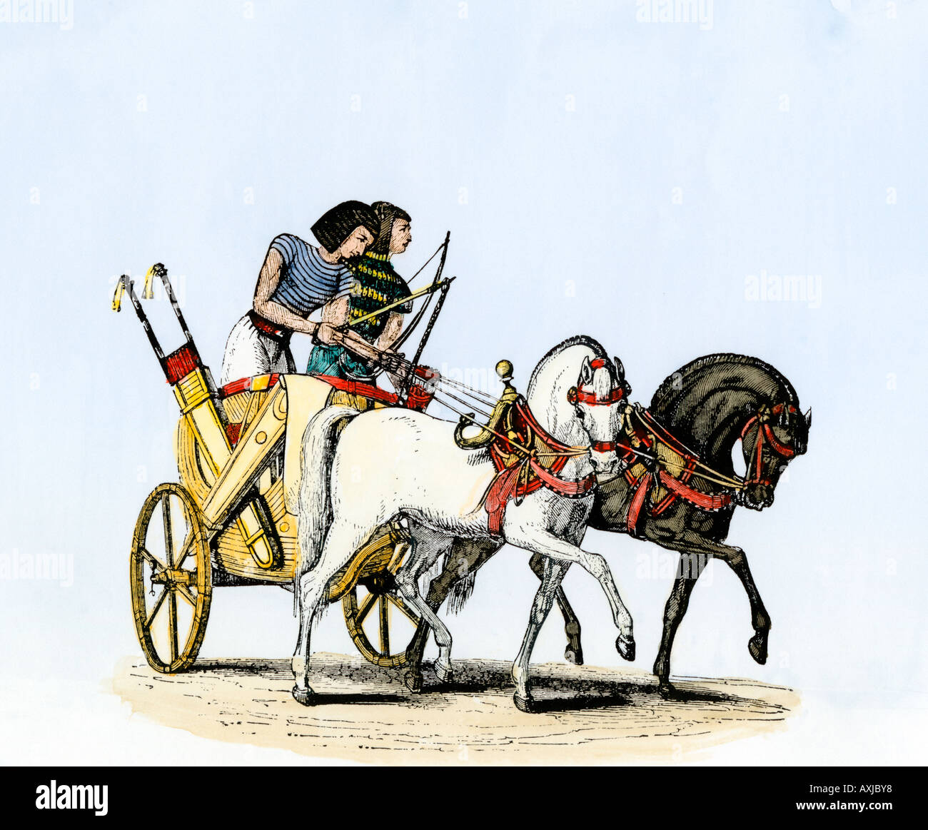 Chariot drawn by two horses in ancient Egypt - Stock Image