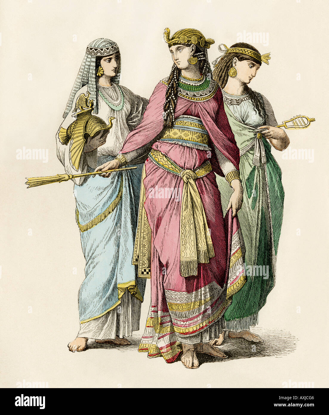 Ancient Egyptian queen and attendants - Stock Image