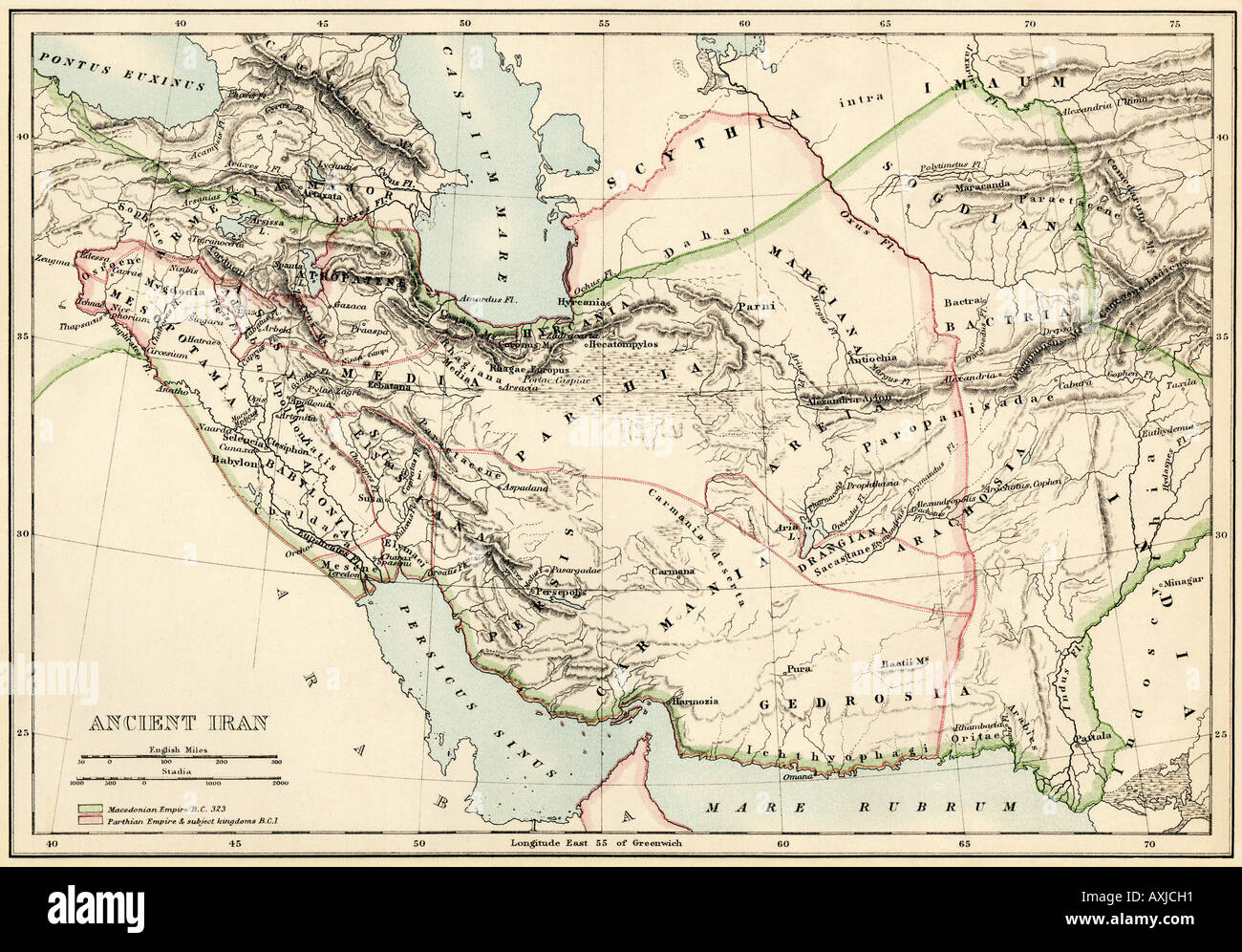 Map of the ancient Persian Empire. Color lithograph Stock Photo ...