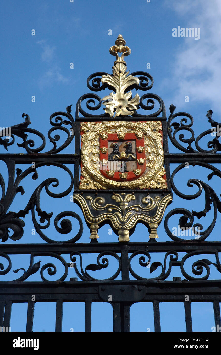 Jesus College in Cambridge, UK, gate with The College arms Stock Photo