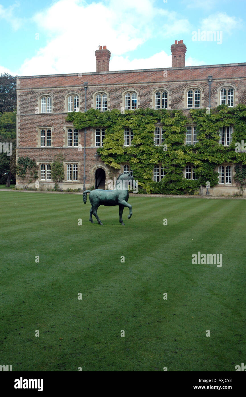 First Court, north range of Jesus College, with bronze horse statue by Barry Flanagan in Cambridge, UK - Stock Image