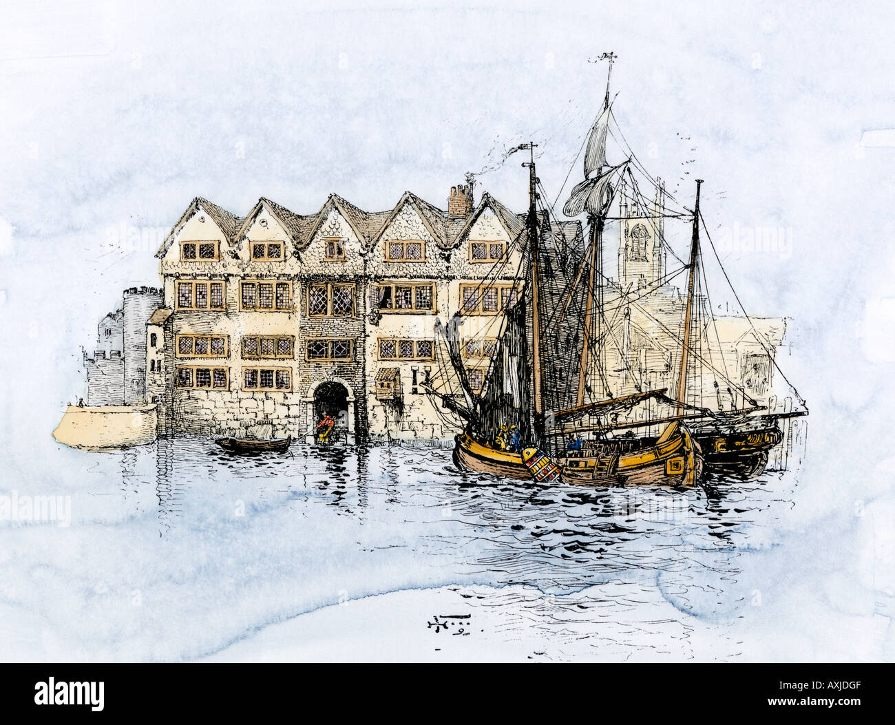 Sailing ships in Cold Harbour Thames Street London about 1600. Hand-colored woodcut Stock Photo