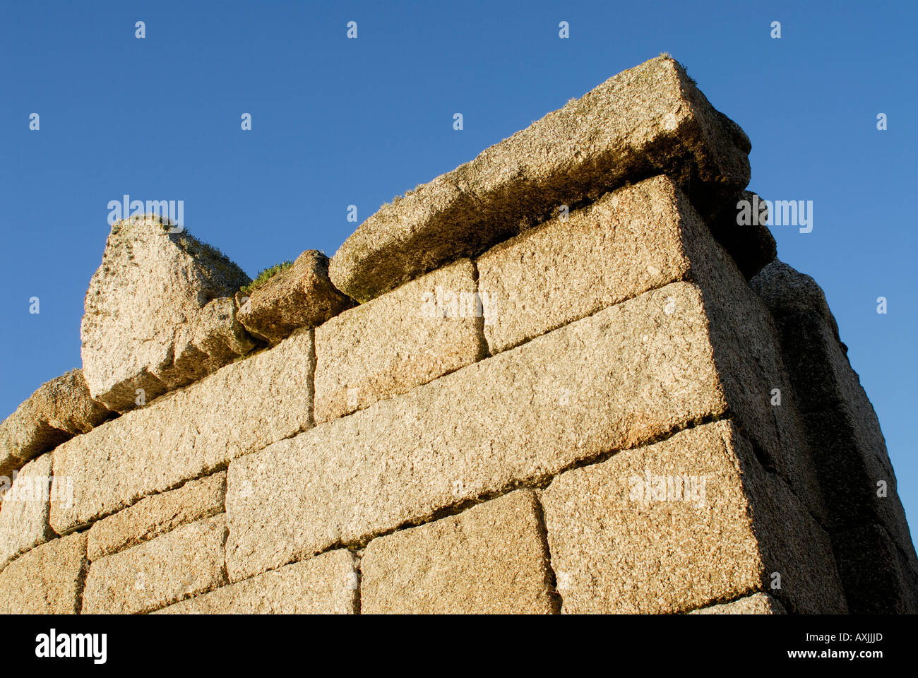 The harbour walls at Hugh Town are built from blocks of granite Hugh Town St Mary s Isles of Scilly UK 16 September 2006 - Stock Image