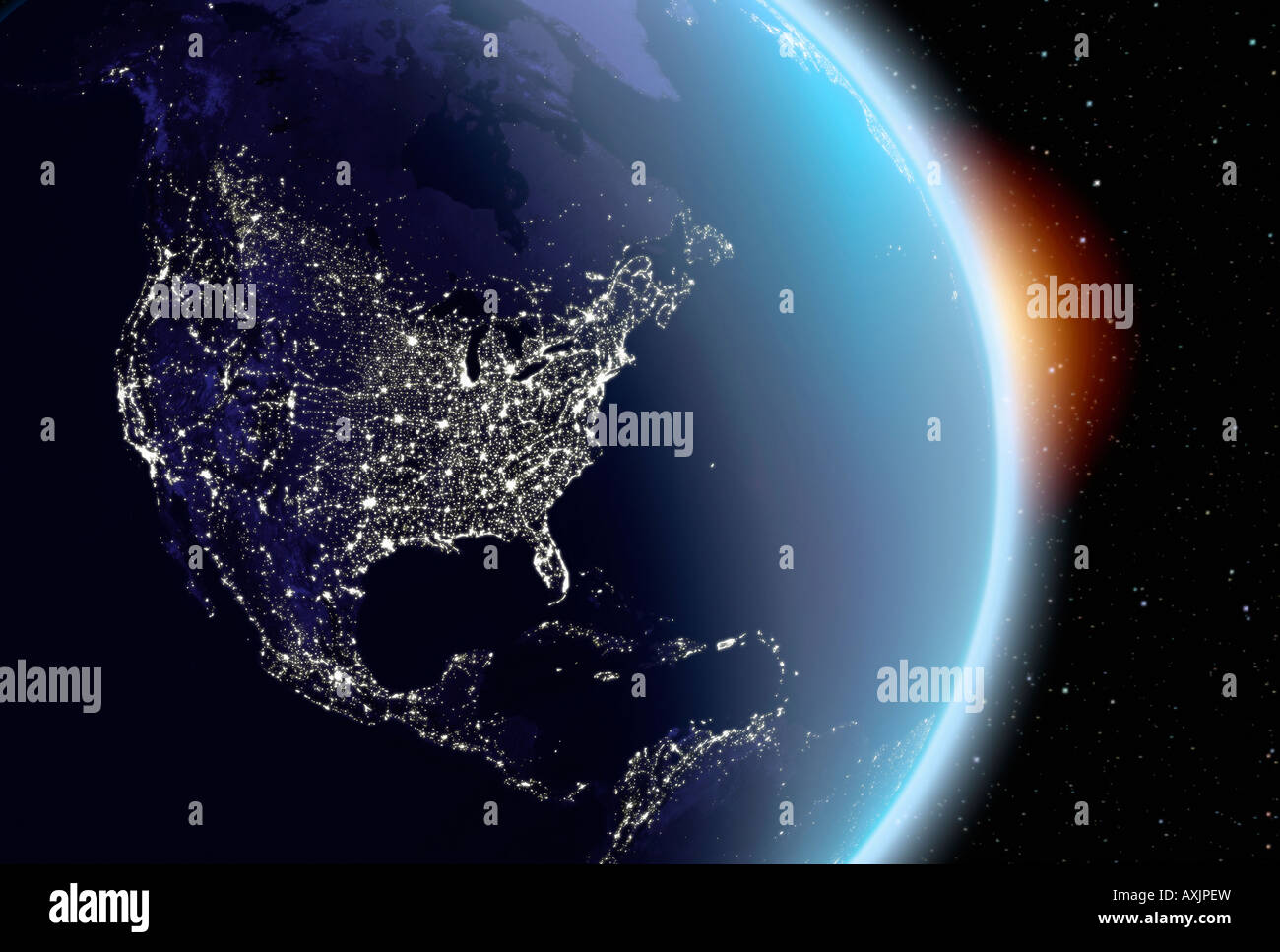 satellite image of planet earth North America at night - Stock Image