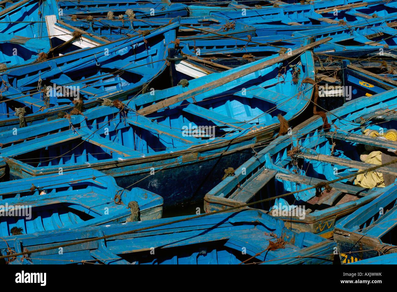 Small boats in port Essaouria Morocco - Stock Image