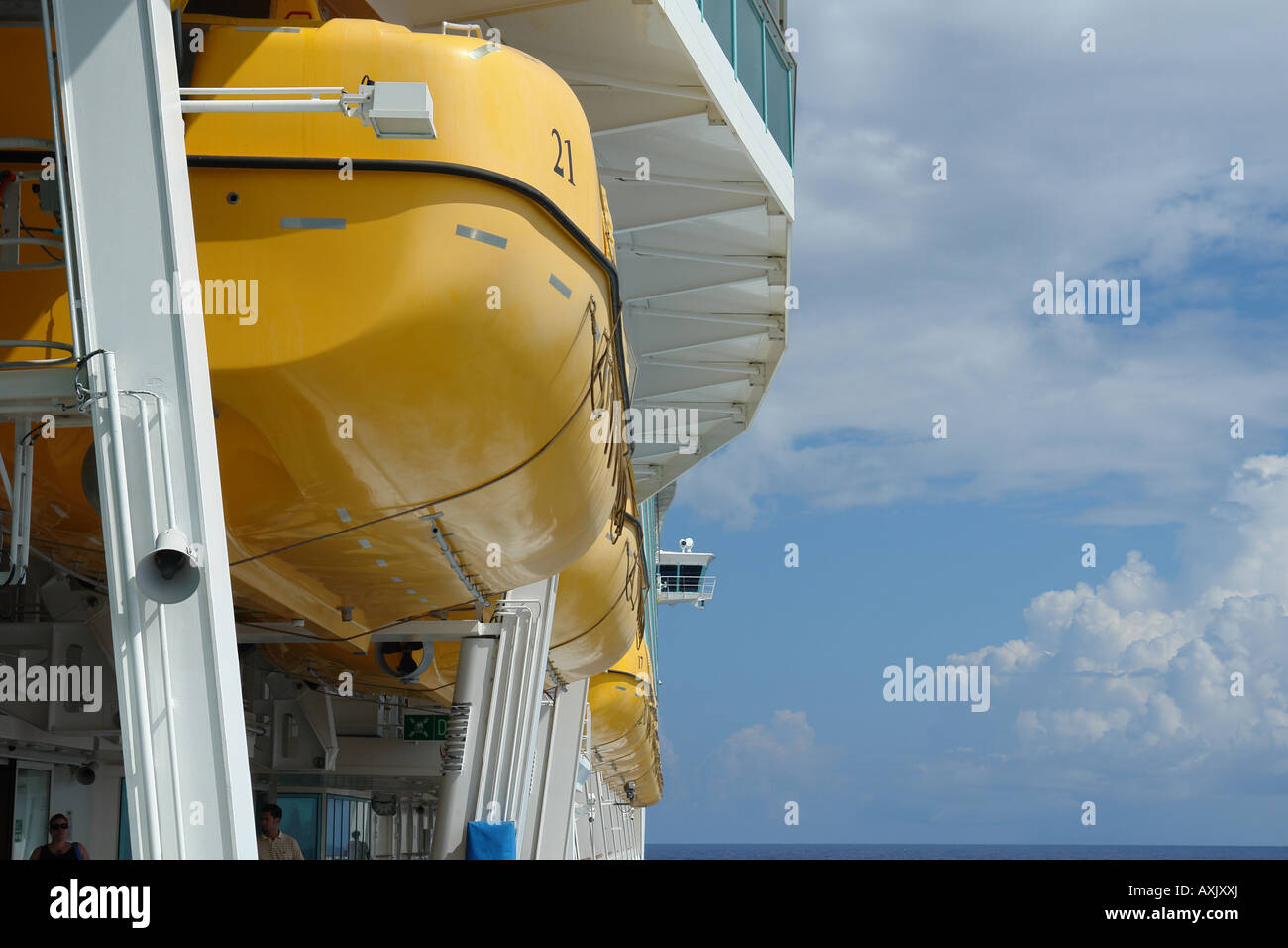 Lifeboats on Royal Caribbean Cuise Lines Navigator of the Seas - Stock Image
