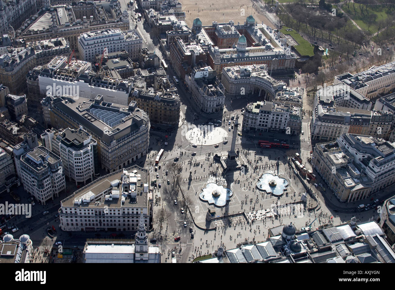 High level oblique aerial view south of Trafalgar Square London WC2 England UK Feb 2006 Stock Photo