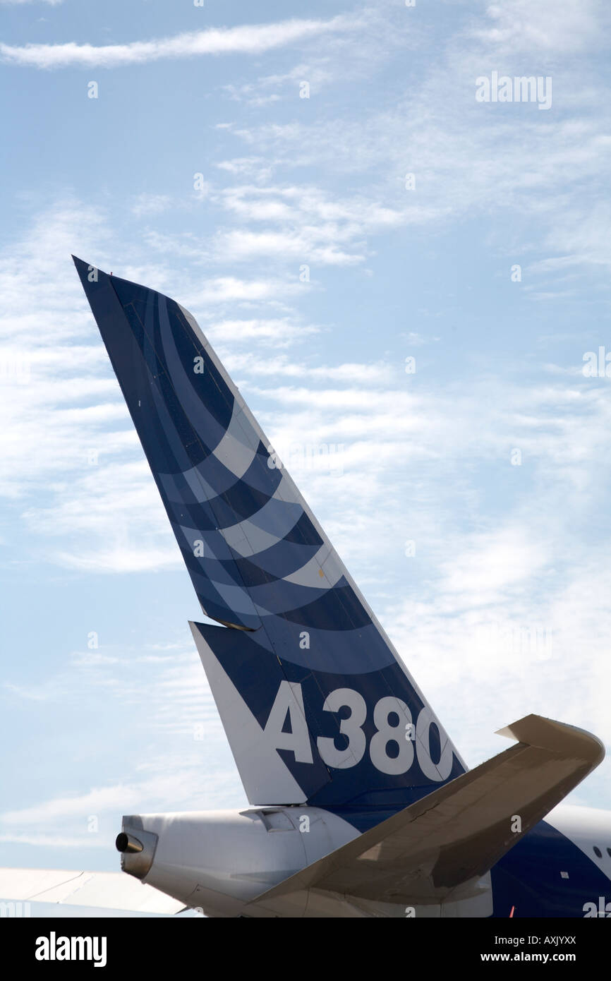 Reach for the sky Airbus A380 aircraft tailplane on static display at Farnborough International Airshow July 2006 - Stock Image