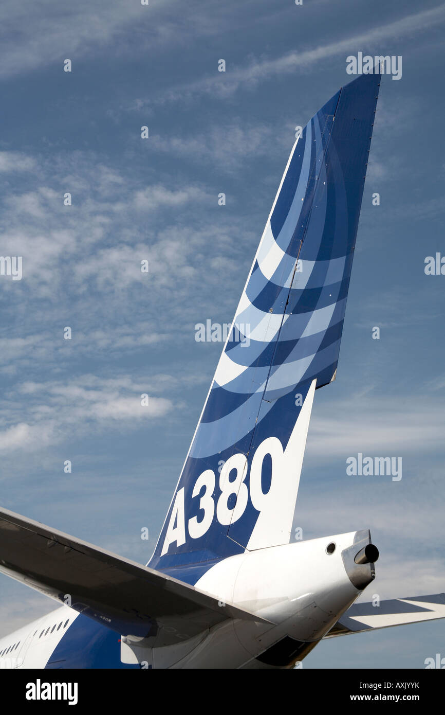 Reach for the sky Particular of Airbus A380 superjumbo aircraft tailplane on static display at Farnborough International - Stock Image