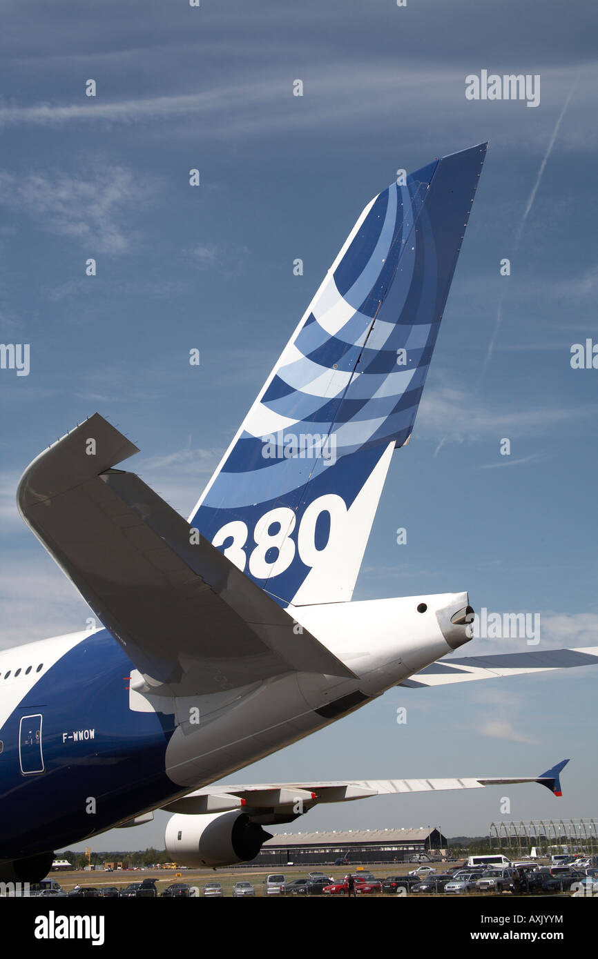 Tailplane of Airbus A380 superjumbo aircraft on static display at Farnborough International Airshow July 2006 The - Stock Image