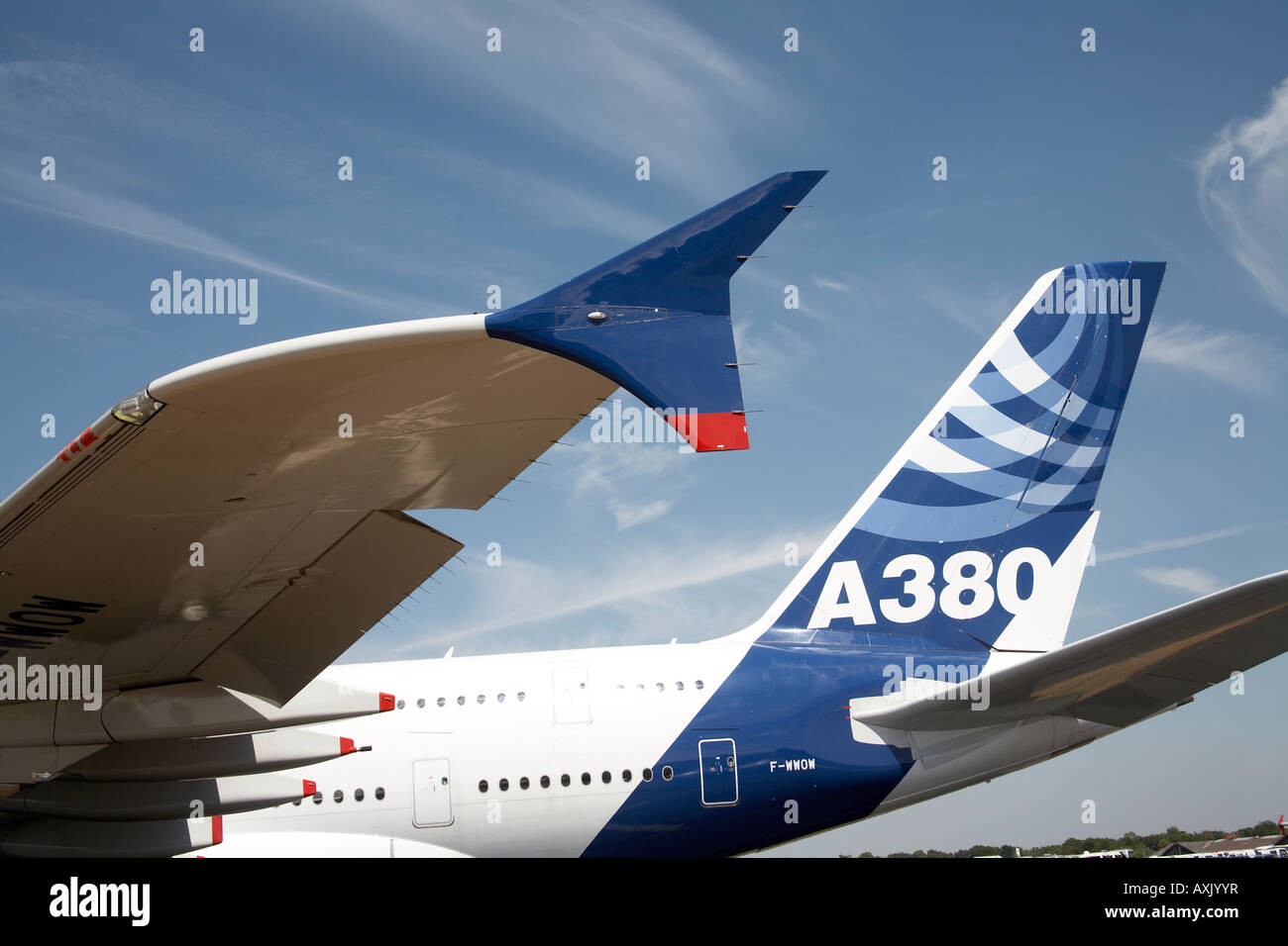 Airbus A380 superjumbo double deck aircraft on static display at Farnborough International Airshow July 2006 Wingtip - Stock Image