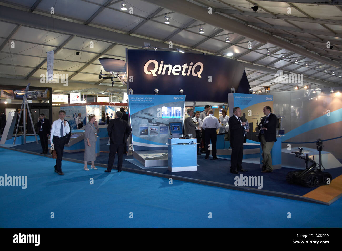 QinetiQ exhibition display trade stand at Farnborough International Airshow July 2006 - Stock Image
