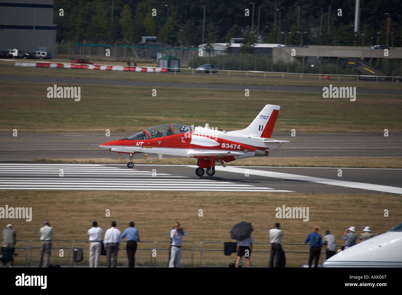Hindustan Aeronautics Limited IJT 36 Trainer aircraft about to take off for flying display at Farnborough International - Stock Image