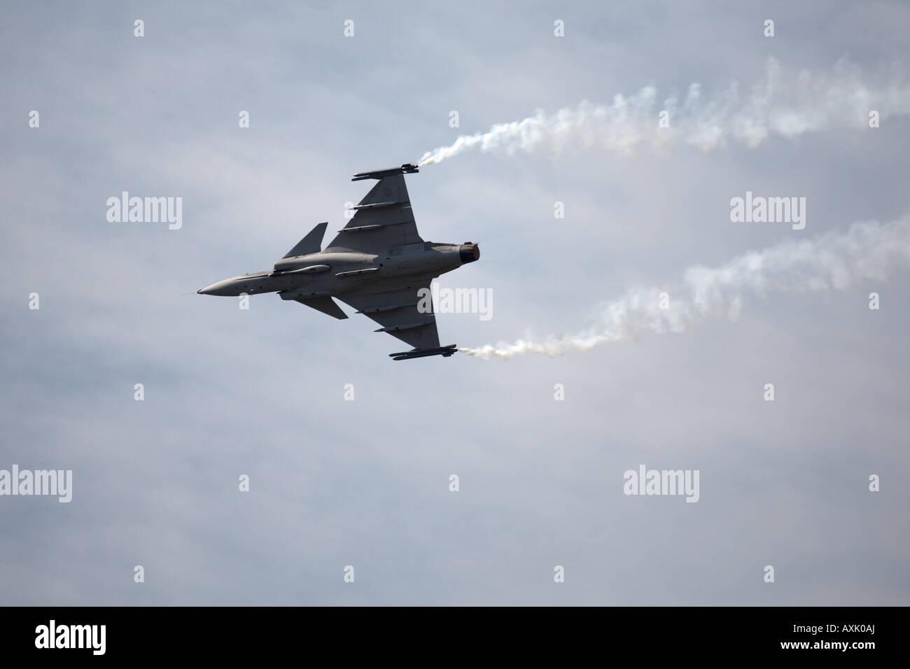 SAAB Gripen aircraft on flying display at Farnborough International Airshow July 2006 - Stock Image