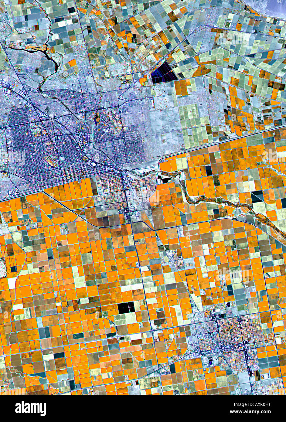 Satellite image of farmland Germany - Stock Image