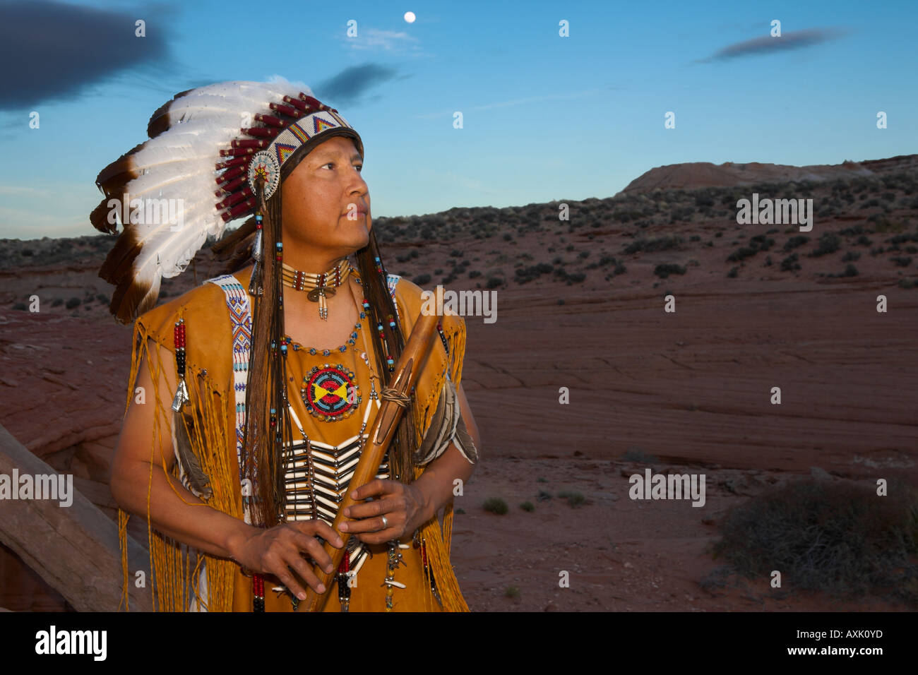 Native American Indian man person with cultural outfit uniform headdress feathers design patterns blue sky nature plants Chief - Stock Image