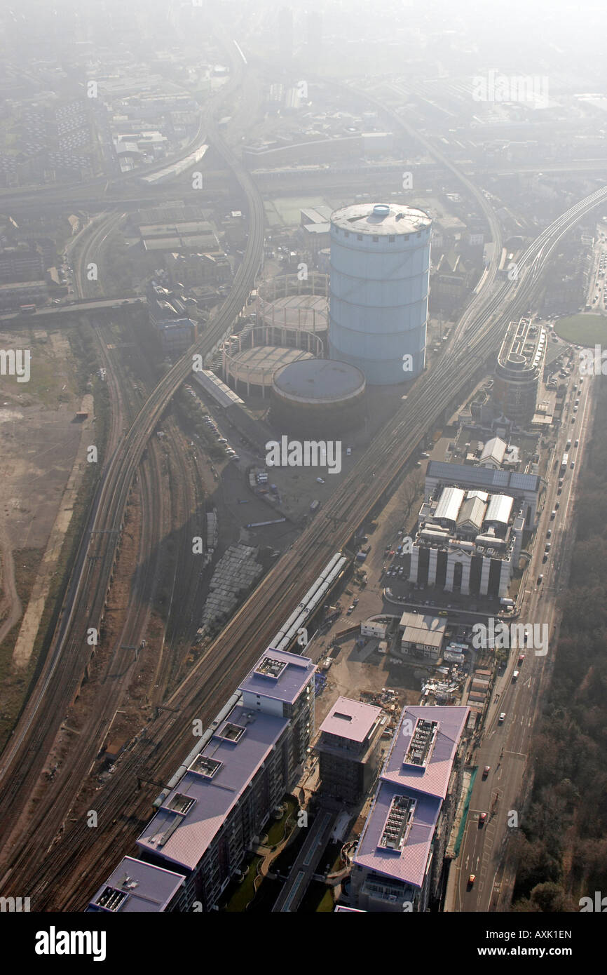Aerial view south of Queenstown Road Observer Building and railways in haze Battersea London SW11 England UK January - Stock Image