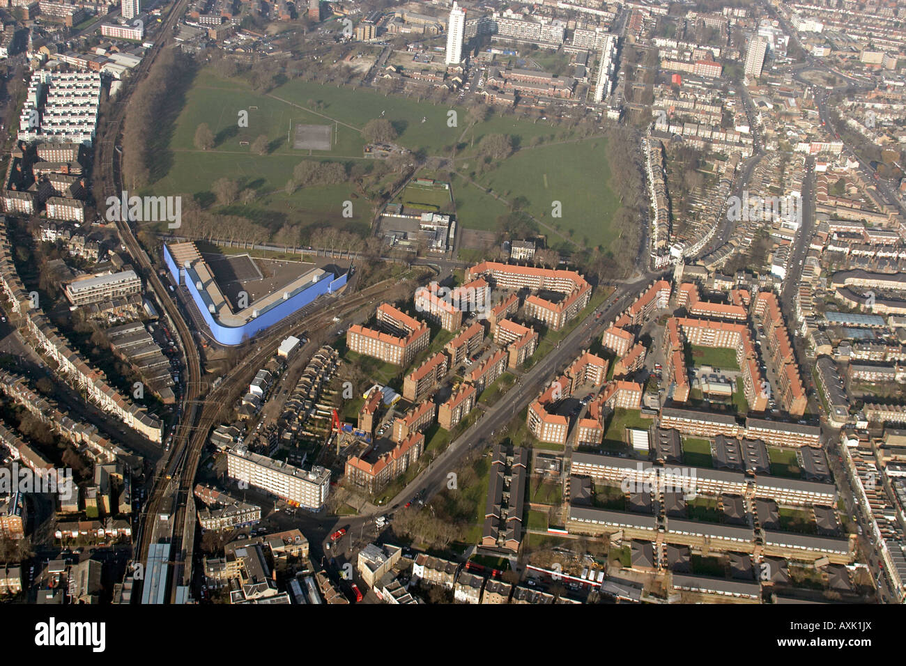 High Level Oblique Aerial View North Of Hackney Downs London E8 England UK January 2006