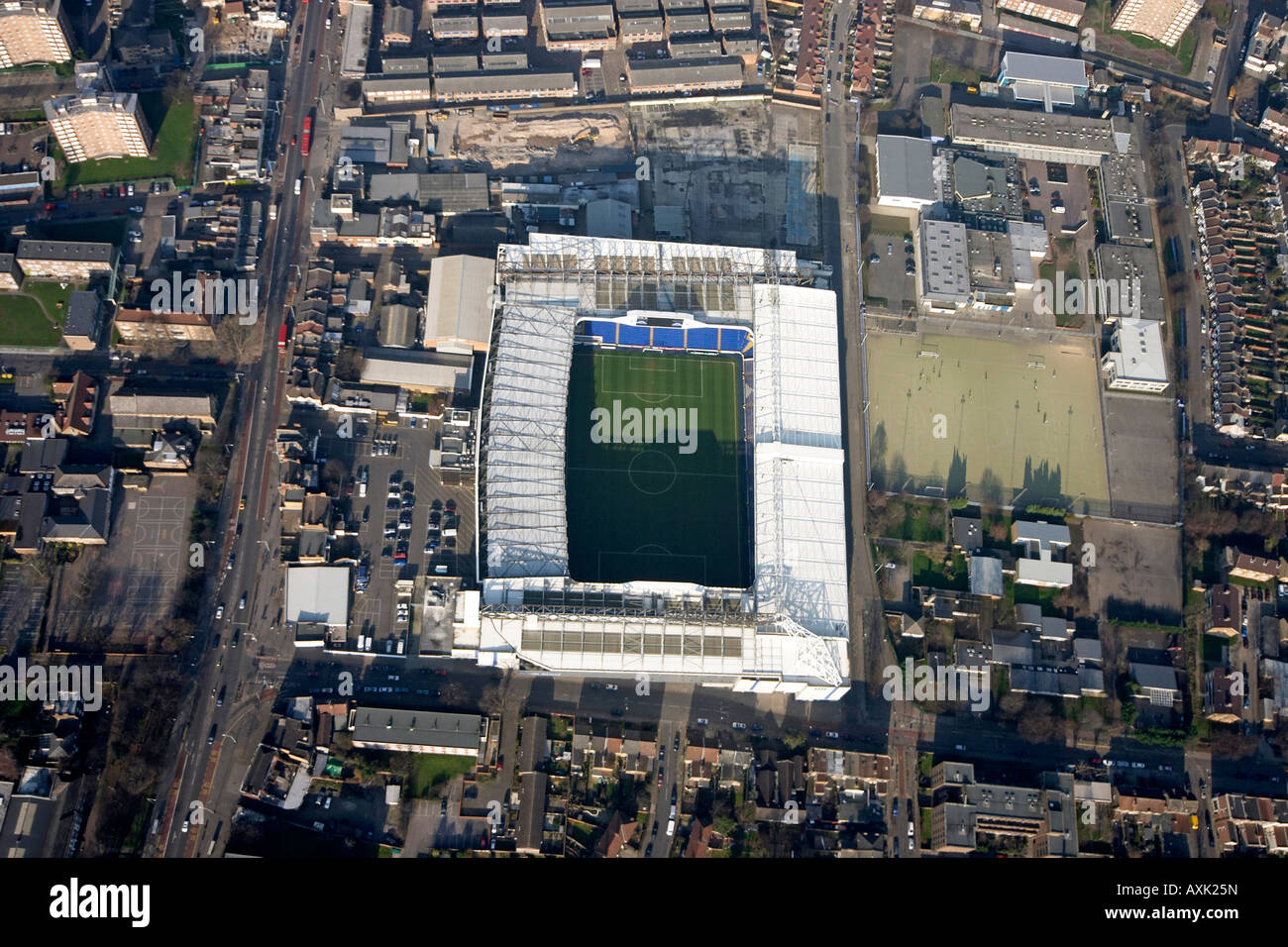 High level vertical aerial view overhead of Tottenham Hotspur football club White Hart Lane Stadium London N17 England Stock Photo