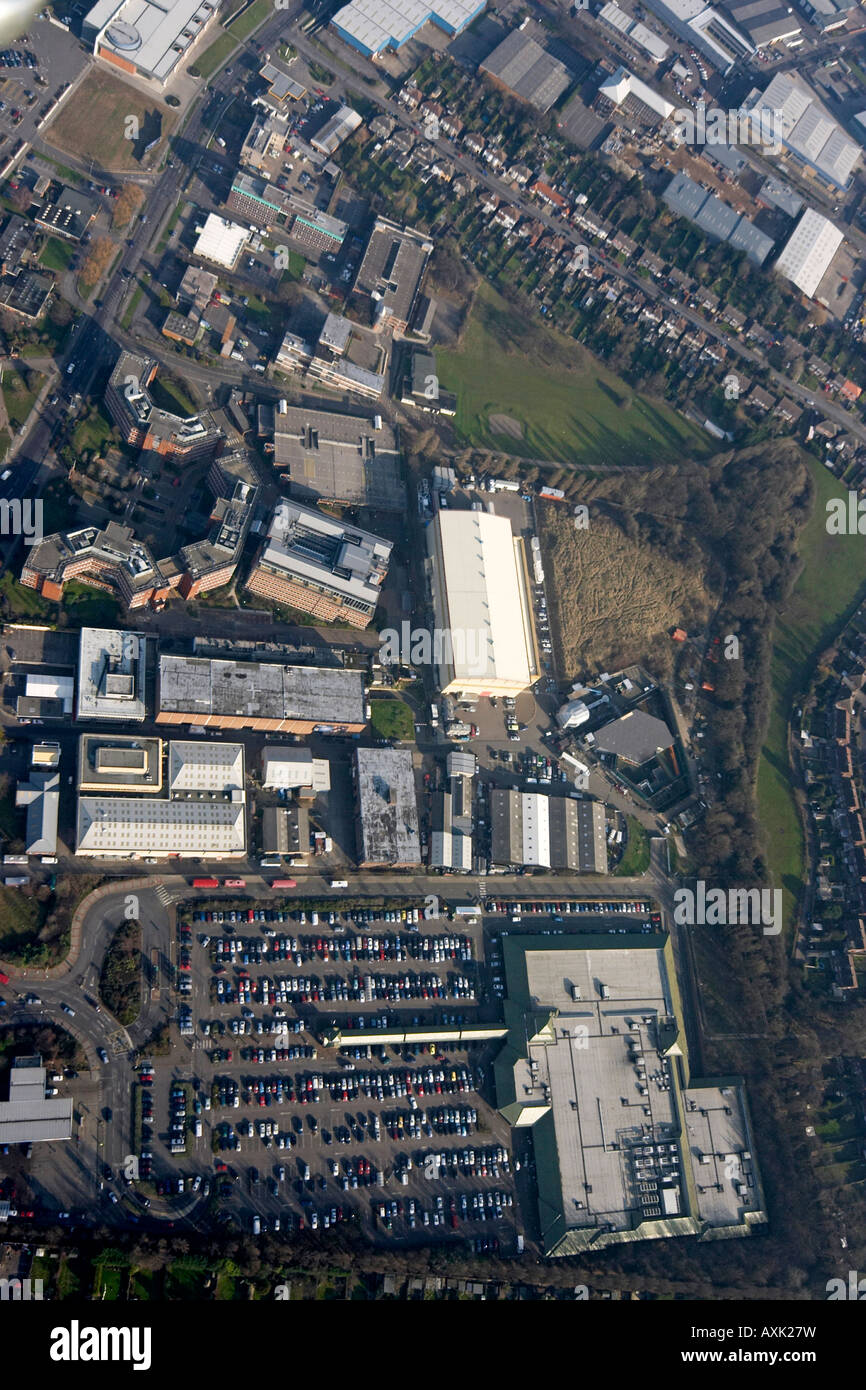 High level oblique aerial view overhead of Elstree Studios and Big Brother House London WD6 England UK January 2006 - Stock Image