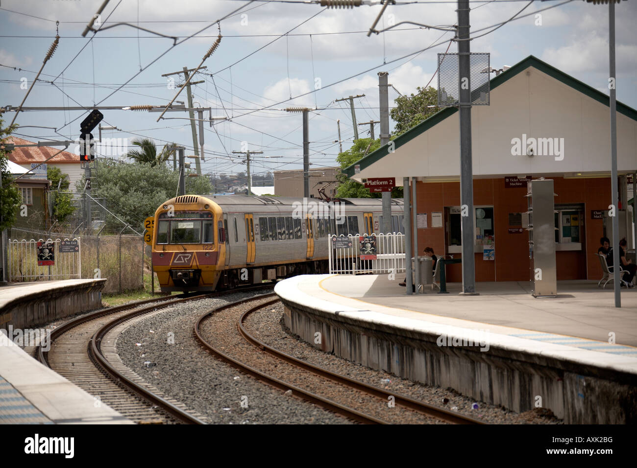 Suburban electric train at Park Road railway station in Brisbane Queensland QLD Australia Stock Photo
