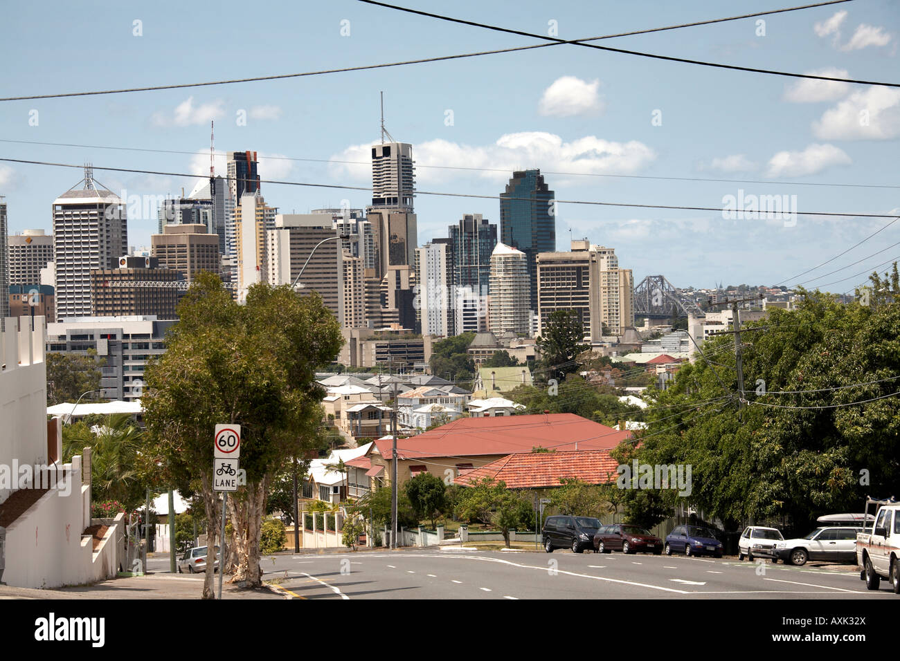 Central Business District from hills of south bank in Brisbane Queensland QLD Australia - Stock Image