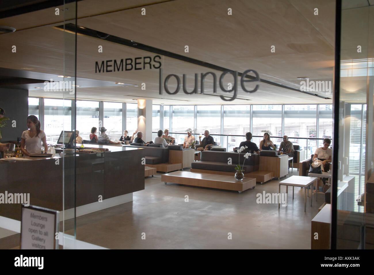 People in members lounge in interior of Gallery of Modern Art Brisbane Queensland QLD Australia - Stock Image