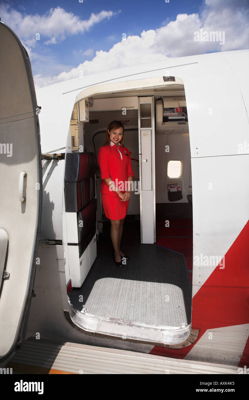 Lady In Red On Plane Fly Sky Clouds Open Enter Welcome Door Entry