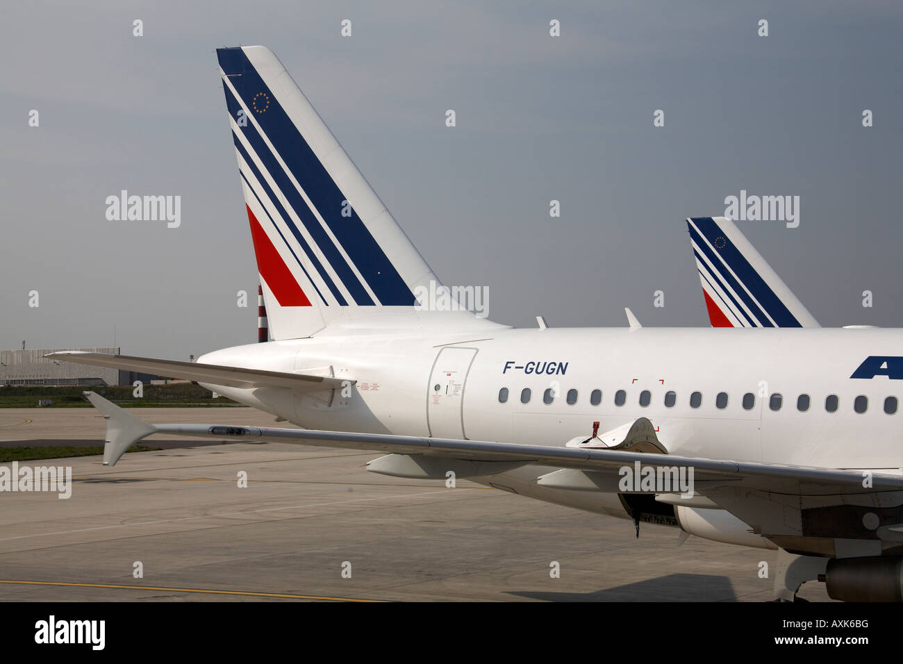 Air France Airbus A318 111 tailplane on apron at Charles De Gaulle International Airport Paris France - Stock Image