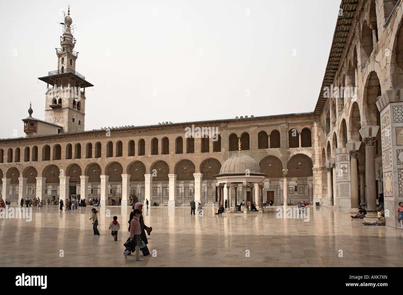 Syria Damascus Great Umayyad mosque minaret of the bride and dome of the clocks - Stock Image