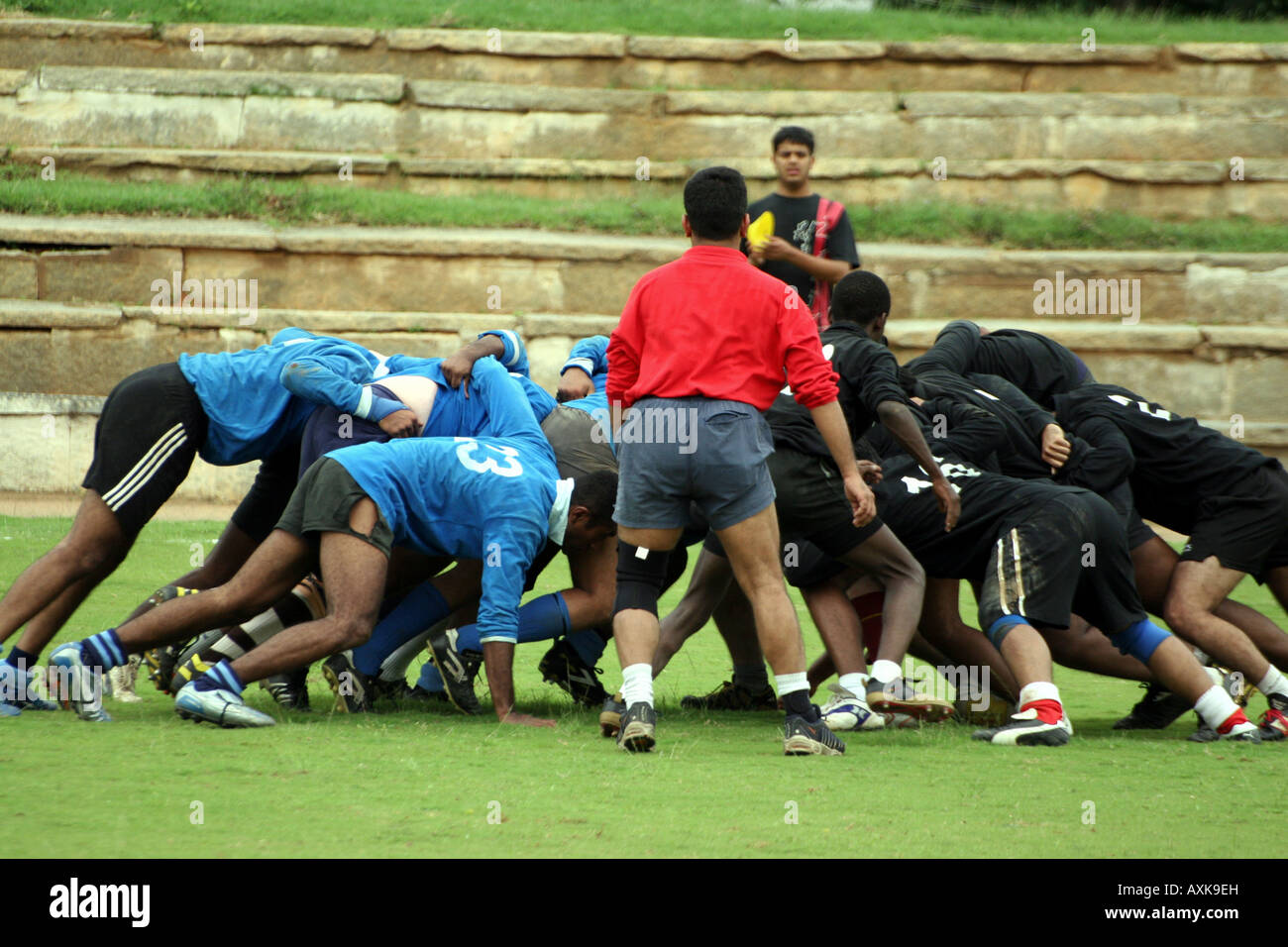 A match involving Bangalore Rugby Football Club, affiliated to the Karnataka Rugby Union (KRU). - Stock Image