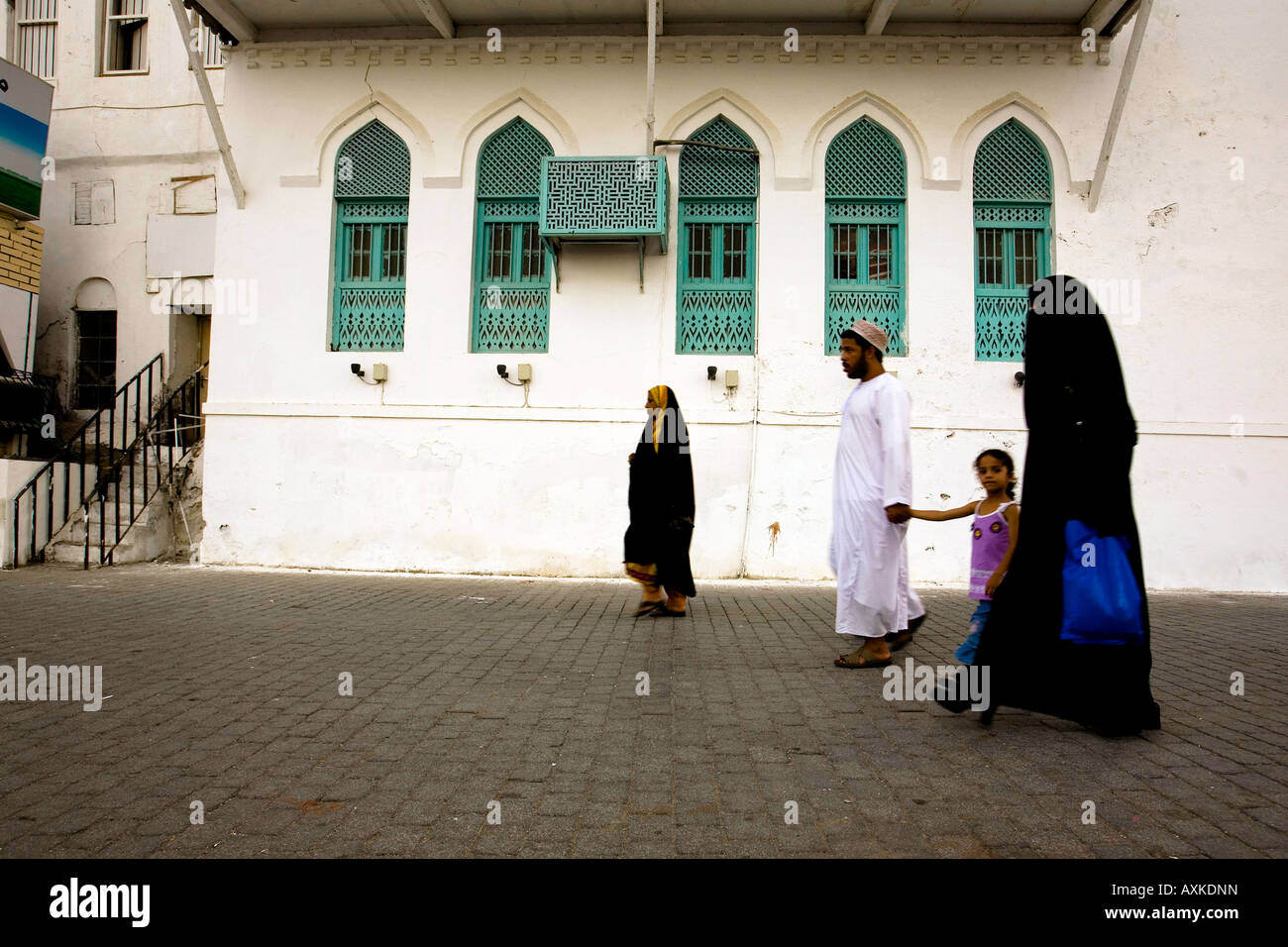 Oman, Muscat, Muttrah. Locals, Al-Lawatiah District. - Stock Image