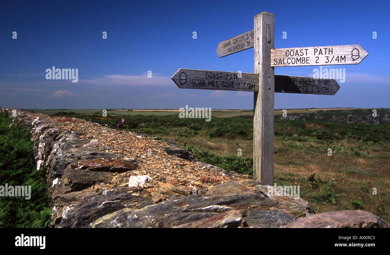 Coast path signpost near Bolt Head, South Devon Stock Photo