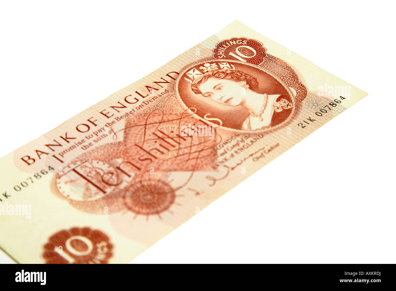 A ten shilling note, pre decimale stirling, on white background - Stock Image