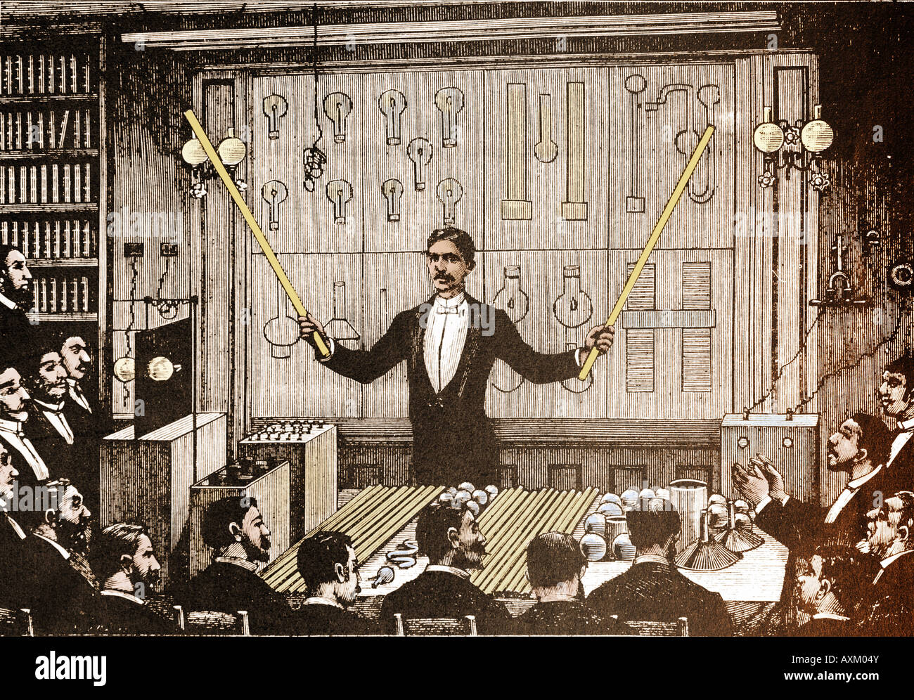 Nicola Tesla revealing the virtues of alternating current electricity. - Stock Image