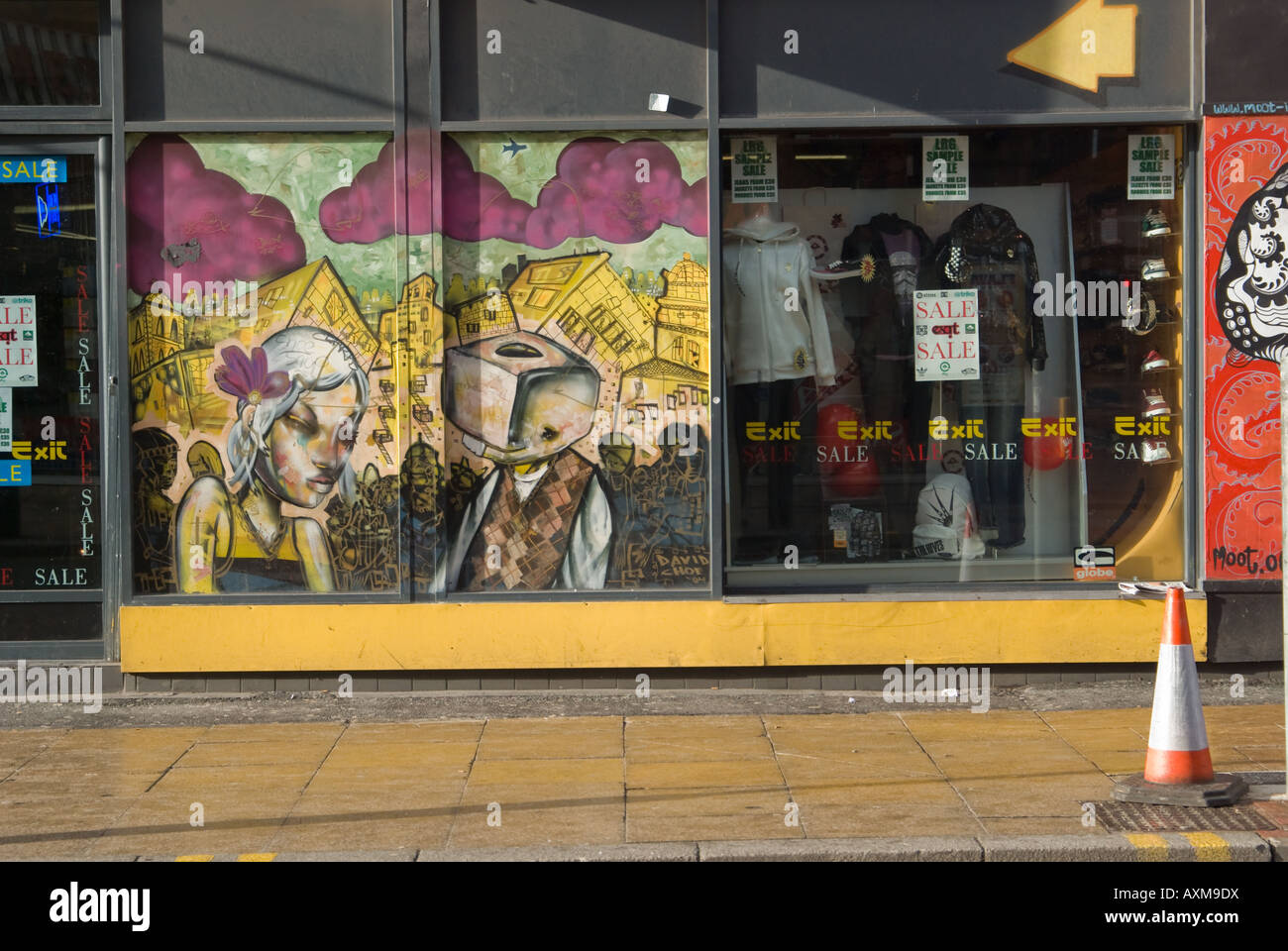 Shop front in Tibb Street Manchester's Northern Quarter Stock Photo