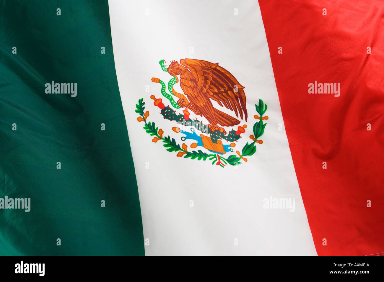 Close up of flag of Mexico - Stock Image