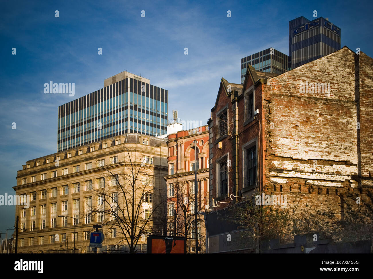 Manchester Northern Quarter old and new buildings, blue sky sunlit, CIS - Stock Image